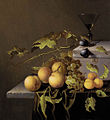 Johannes Borman - peaches and grapes on a stone ledge with wine glass behind.jpg