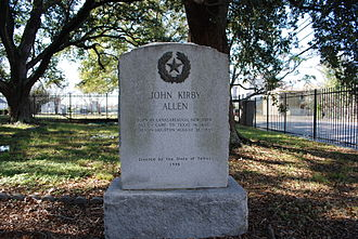 John Kirby Allen - John Kirby Allen's tombstone at Founders Memorial Cemetery