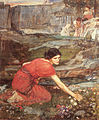 John william waterhouse maidens picking flowers by the stream (study).jpg