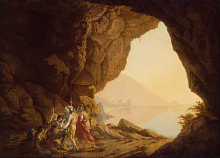 Grotto by the Seaside in the Kingdom of Naples with Banditti, Sunset