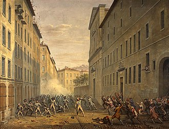 Grenoble - Day of the Tiles, 1890 painting by Alexandre Debelle,  (Musée de la Révolution française).