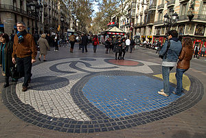 A mosaic by Joan Miró on the Ramblas of Barcelona