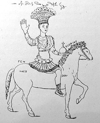 Drawing of the colossal bronze imperial statue from atop the Column of Justinian (15th century). Justinian Augustaion Nimphyrios.jpg