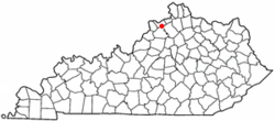 Location of Worthville, Kentucky
