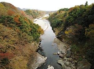 群馬県富岡市・下仁田町境を流れる鏑川(不通橋より下流を望む)