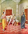 Kaikeyi told that according to the two boons granted by Dasaratha Rama should go to the forest for 14 years and Bharata must become the king.jpg