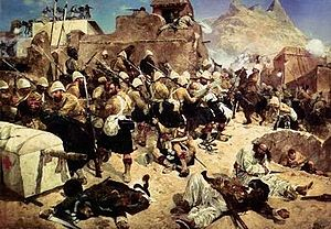 Gordon Highlanders - 92nd Highlanders at Kandahar by Richard Caton Woodville (1856-1927).