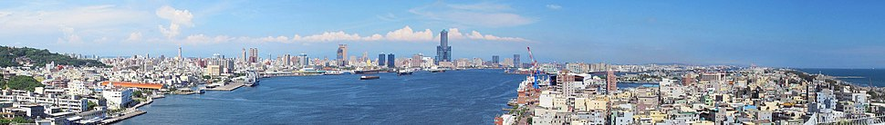 Kaohsiung's skyline viewed from Kaohsiung Lighthouse in Cijin District, with the 85 Sky Tower right of center.