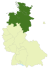 Map of Germany:Position of the Oberliga Nord highlighted