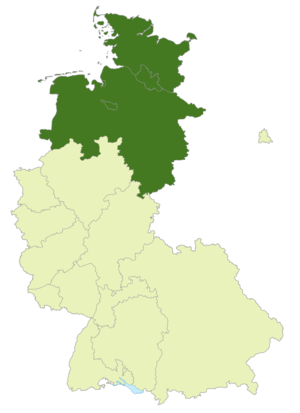 Oberliga Nord (1947–63) - Map of Germany:Position of the Oberliga Nord highlighted