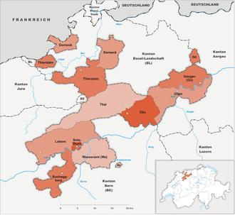 Karte Kanton Solothurn Bezirke 2010