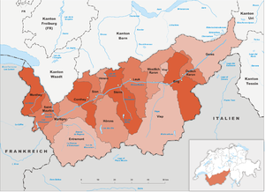Subdivisions of the canton of Valais - Districts in Valais