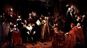 Piotr Skarga - Skarga's Sermon, by Matejko, 1862. Skarga (standing, right) preaches, while King Sigismund III Vasa sits in the first row, left of center.