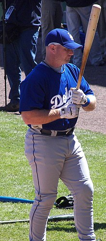 A man wearing a blue baseball jersey and cap holding a baseball bat in his two hands