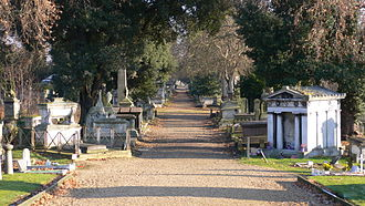 Kensal Green Cemetery - Image: Kensal Green Cemetery view December 2005