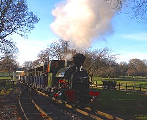Great Whipsnade Railway - Kerr Stuart 0-4-2ST Brazil Class No. 2 'Excelsior' and her train arrive at Whipsnade Central Station
