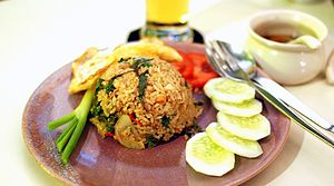 Thai fried rice - Khao phat kaphrao (Rice fried with holy basil).