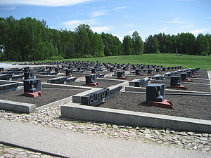 Khatyn massacre - «Cemetery of villages» with 185 tombs. Each tomb symbolizes a particular village in Belarus which was burned together with its population.