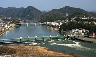 Kiso River - Kiso River and bridge (Inuyamatoushukourain'oohashi) seen from Mount Igi.