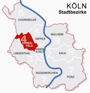 Ehrenfeld, Cologne - Image: Koeln bezirke 4ehrenfeld