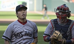 Koji Uehara and Jarrod Saltalamacchia on June 15, 2013