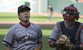 Koji Uehara and Jarrod Saltalamacchia on June 15, 2013.jpg