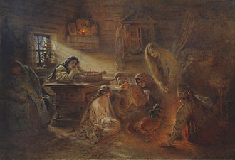 Alectryomancy - Christmastide Divination by Konstantin Makovsky showing a Russian folk alectryomancy during Eastern Orthodox Christmastide to foretell a marriage for a young woman in the near future.