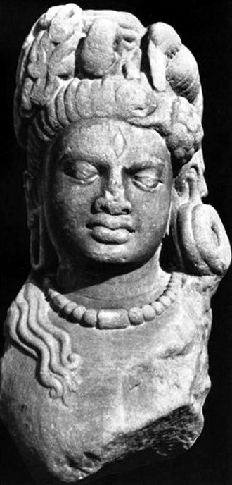 Ardhanarishvara - An early Kushan head of Ardhanarishvara, discovered at Rajghat, now in the Mathura Museum