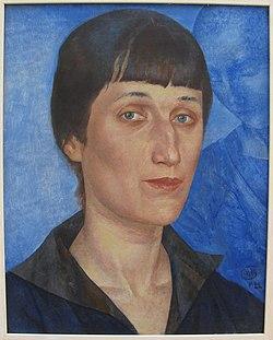 Kuzma petrov vodkin, ritratto di anna akhmatova, 1922