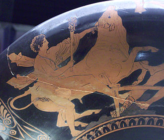 Theseus - Theseus captures the Marathonian Bull (kylix painted by Aison, 5th century BC)