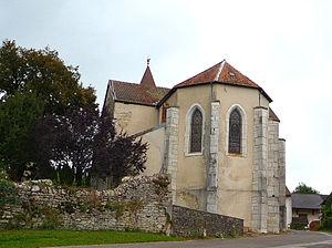 Aromas, Jura - Image: L'arrière de l'Eglise d'Aromas