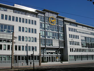 Lufthansa's headquarters in Deutz, Cologne. LH-HQ, Koln-Deutz, Front 3.jpg