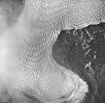 La Perouse Glacier, tidewater glacier with banded ogive lobe, September 16, 1966 (GLACIERS 5558).jpg