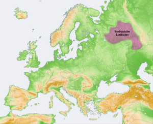 Northern Ridge - Location of the Northern Ridge (purple) on the topographic map of Europe