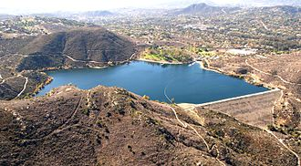 Poway, California - Lake Poway as seen from a helicopter in 2012