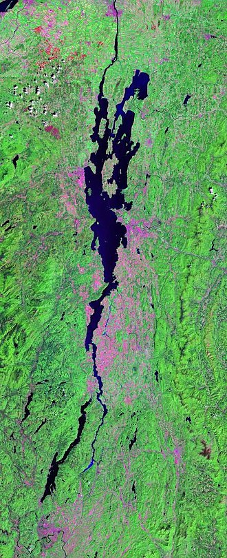 Champlain Valley - Landsat photo of the immediate Lake Champlain region—only part of the much longer drainage basin and overall valley which reaches the Atlantic Ocean north of Nova Scotia via the St. Lawrence Seaway.