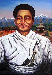 "Portrait of Lakhan Thapa; a kukri knife tucked in his ""patuka"" waistband is prominent."