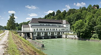 run-of-the-river hydroelectric plant in Pullach, Germany