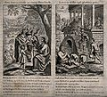 Lazarus prays as his sores are licked by dogs; Dives feasts Wellcome V0034949.jpg