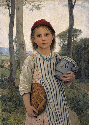 Albert Anker - Le petit chaperon rouge, (Little Red Riding Hood), 1883