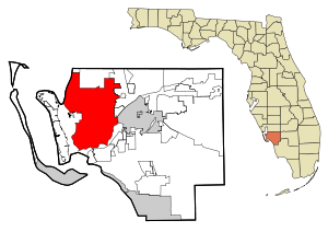 Lee County Florida Incorporated and Unincorporated areas Cape Coral Highlighted.svg