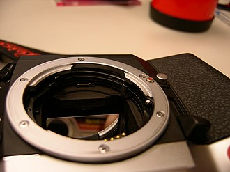 Leica R8-R9 - Lens mount, showing the ROM contacts.