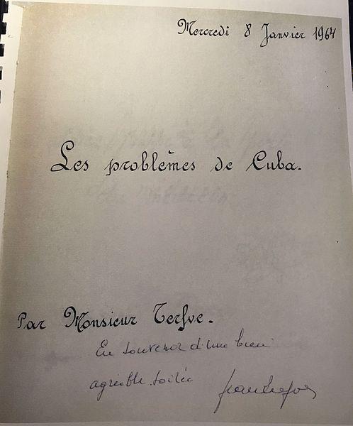 """Réunion le 8 janvier 1964 au Château Dreze à Trooz, sujet du jour """"Les problèmes de Cuba"""""""