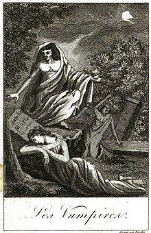 Gravure de l'ouvrage de Collin de Plancy: Histoire des vampires et des spectres malfaisans avec un examen du vampirisme, 1820