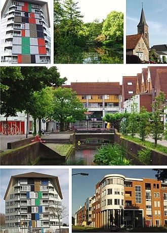Leusden - From left to right; Highrise building, Park Wildenburg, St. Jozefkerk, Kooikersgracht, Residential tower, Biezenkamp