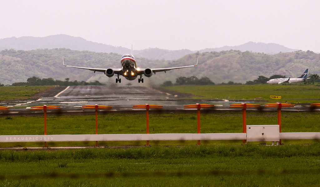 Liberia, Costa Rica - Airplane taking off from international airport.png