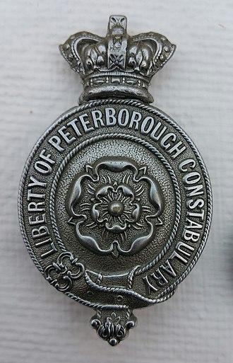 Liberty of Peterborough Constabulary - Image: Liberty of Peterborough Constabulary Day Badge