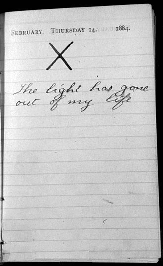 "Alice Hathaway Lee Roosevelt - Roosevelt's diary entry ""The Light Has Gone out"""