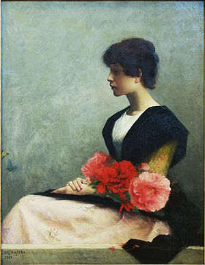 Alfred Agache (painter) - Young woman with flowers