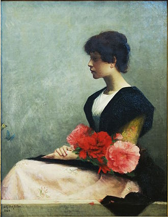 """Alfred Agache (painter) - """"Jeune femme assise tenant des fleurs dans les bras"""" (Young woman with flowers), Palais des Beaux-Arts de Lille"""